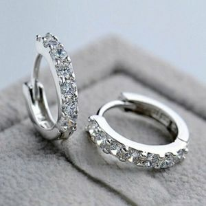 NEW 925 STERLING SILVER PLATED DIAMOND HUGGIES